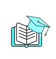 book and graduation cap design vector image