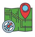 city map navigation compass concept line vector image