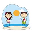 cute kids avatars character on the beach vector image