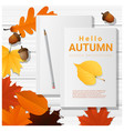 hello autumn with blank notebooks on wooden board vector image
