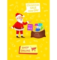 Xmas banner with button shop online Sale poster vector image