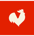 Silhouette of crowing rooster vector image
