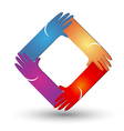 Hands in diamond shape logo vector image vector image