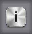 Info icon - metal app button vector image