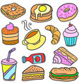 collection stock of food cake drink doodles vector image