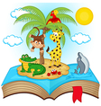 open book with island in sea vector image