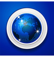 Blue world globe on white frame vector image