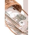 european money on wooden basket vector image vector image
