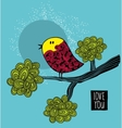 Colorful bird on the tree card cover vector image