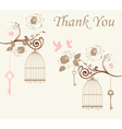 doves thank you card vector image vector image