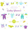 Baby Shower or Arrival Card - Baby Boy Elements vector image