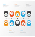 Business flat icons set collection of suitcase vector image