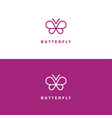butterfly mono line logo vector image