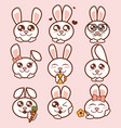 cute rabbits icons set sweet vector image