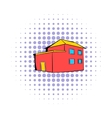 Red house icon comics style vector image
