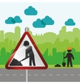 road sign worker way urban green silhouette vector image