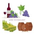 Wine Technology Bottle of Vine Beaker Vineyard vector image