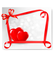 Valentine background with two red hearts and gift vector image