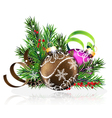 Christmas decorations with pine branches and vector image