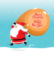 Santa Claus With Big Sack Running quickly vector image