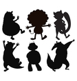 Silhouettes of different wild animals vector image