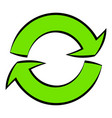 green circular arrows icon cartoon vector image
