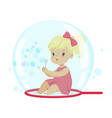 adorable little girl blowing bubbles while sitting vector image