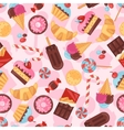Seamless pattern colorful various candy sweets and vector image