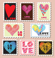 Set of Valentines Day Postage Stamps vector image vector image