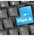 Plan A key on computer keyboard - internet vector image
