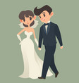 bride and groom cartoon character vector image