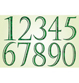 Collection of green numbers made of swirls vector image