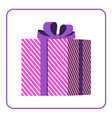 Colorful wrapped gift box icon pink vector image