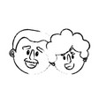 figure old couple face with hairstyle vector image