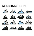 flat mountains icons set vector image