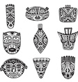 set of hand drawn fancy masks in african style vector image