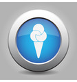 blue metal button with ice cream vector image