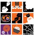 Nine halloween square icons vector image