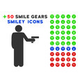 robber with gun icon with bonus facial clipart vector image