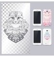 Black and white animal Cat head vector image