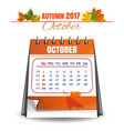 october 2017 quarterly calendar vector image