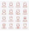 People userpics line icons vector image