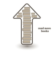 reed more books icon with books and arrow up vector image