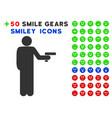 robber with gun icon with bonus facial clipart vector image