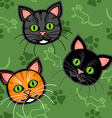 Seamless cartoon cat pattern vector image