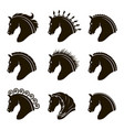 set of horse heads vector image