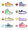 shoes with christmas labels vector image