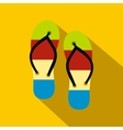 Summer slippers for beach icon flat style vector image