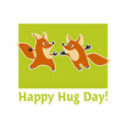two cute fox animal mascot hugging vector image