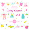 Baby Shower or Arrival Card - Baby Girl Elements vector image vector image